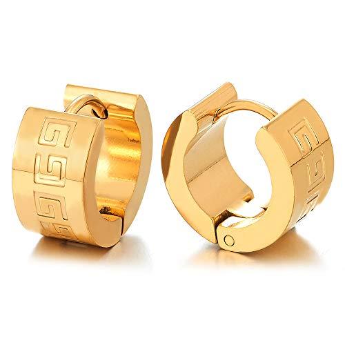 2 Oro Pendientes del Aro con Modelo Dominante Griego, Pendientes Hombres Muchachos, Acero