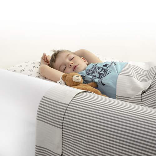 BANBALOO MAX- Sicherheitsbarriere für Kinderbetten Absturzsicherung für Kinder/Rutschfestes Schaumstoffgeländer mit Matratzenschutz aus wasserdichter Baumwolle, für Doppel- und Klappbetten, 90-150 cm