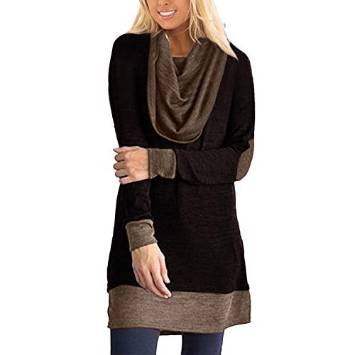 VONDA Womens Jumper Loose Cowl Neck Tunics Patchwork Sleeve Blouse Longline Tops