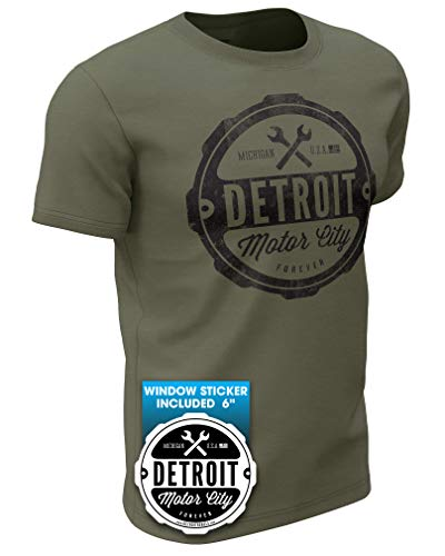 (0001) Detroit Motor City Forever T-Shirt Mens by Detroit Rebels Tshirt Brand (X-Large, Military Green)