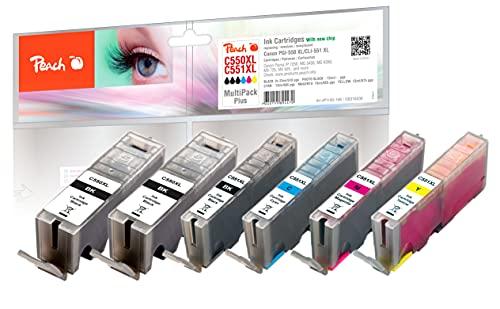 Peach C550/551/555 Spar Pack Plus Druckerpatronen XL (2xBK, PBK, C, M, Y) ersetzt Canon PGI-550XL*2, CLI-551XL für z.B. Canon Pixma IP 7250, Canon Pixma MX 925, Canon Pixma IP 7200