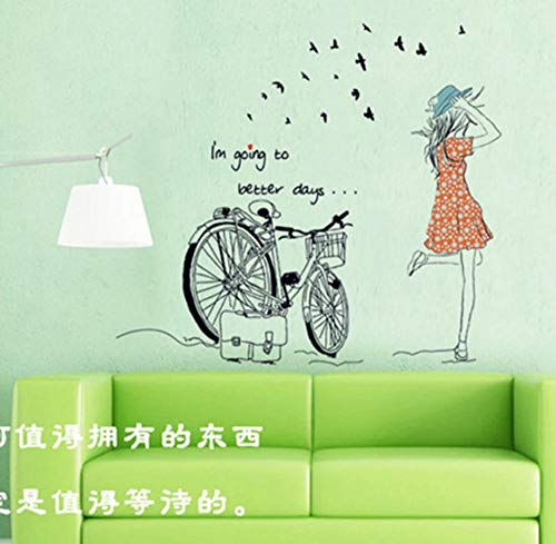 Ziruixiong Hermoso Día Niña Bicicleta Etiqueta De La Pared Sala De Estar Dormitorio Decoración De La Pared Arte Mural Etiqueta De La Pared Habitación De La Niña