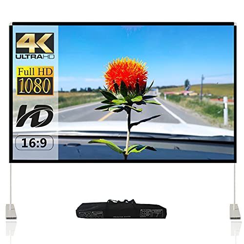 Projector Screen with Stand 120 inch Portable Projection Screen 16:9 4K HD Rear Front Projections...