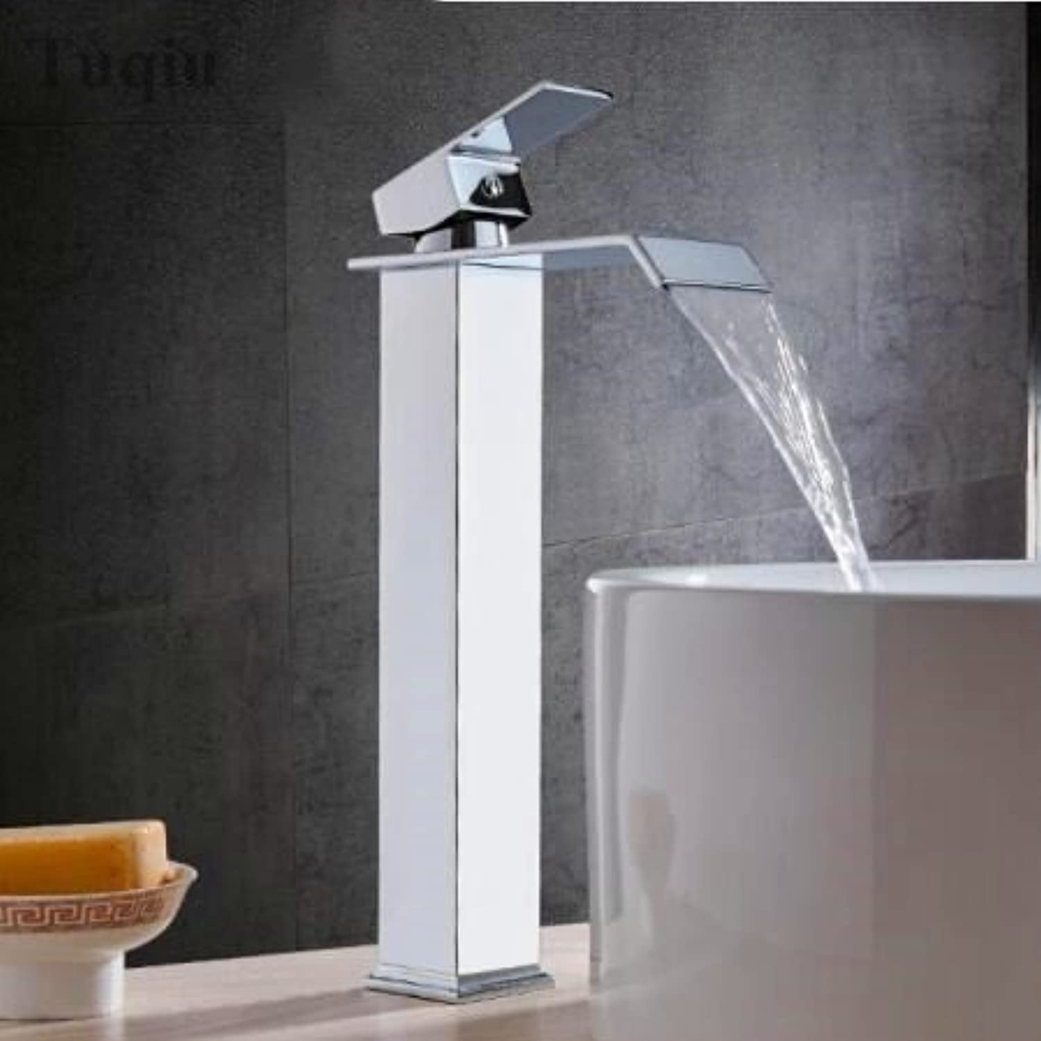 golden Square Sinks taps Waterfall Single Hand wash Basin Mixer Crane Sinks of Water, or Long of Chrome color