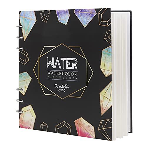 Cuaderno de dibujo de papel de acuarela para artista, cuaderno espiral cuadrado con papel grueso premium prensado en frío, recargable, cuadrado en espiral, para técnicas de acuarela y medios mixtos
