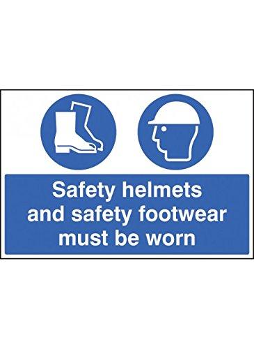 Caledonia Signs 15019P Schild für Sicherheitshelme und Sicherheitsschuhe müssen getragen werden, 600 mm x 400 mm, Hartplastik