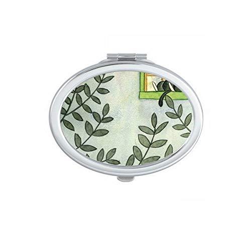 Miaoji Schilderij Aquarel Kat Buiten Raam Ovaal Compact Make-up Spiegel Draagbare Leuke Hand Pocket Spiegels Gift