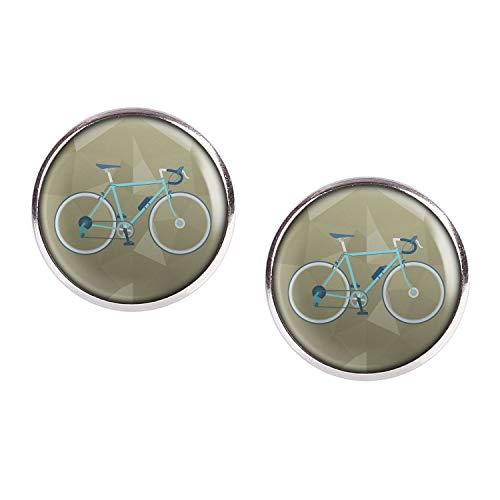Oorbel Paar met Cabochon Picture Racing wiel Retro Turkoois Groen Blauw zilver verschillende maten
