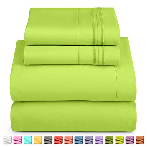 Nestl Deep Pocket Twin Sheets: 3 Piece Twin Size Bed Sheets with Fitted Sheet, Flat Sheet, Pillow Cases - Extra Soft Microfiber Bedsheet Set with Deep Pockets for Twin Sized Mattress - Garden Green
