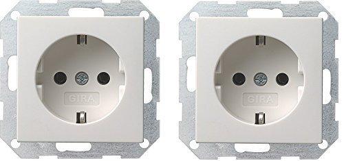 2x GIRA 018803 SCHUKO-Steckdose reinweiß glänzend System 55