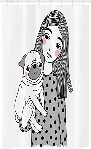 ABAKUHAUS mopshond Douchegordijn, Meisje Dat Haar Pug Liefde, voor Douchecabine Stoffen Badkamer Decoratie Set met Ophangringen, 120 x 180 cm, Zwart Grijs Wit