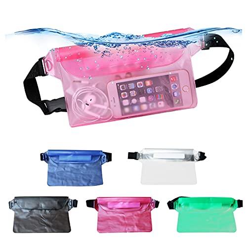 QHX Bolsa impermeable con correa ajustable para la cintura, pantalla transparente táctil – Mantén tu pasaporte seguro y seco – para playa, natación, navegación, pesca, senderismo (azul)