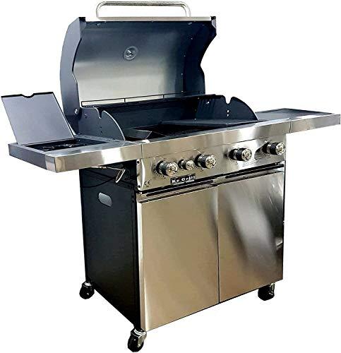 KE GRILL Barbecue Inox A Gas GPL E Pietra LAVICA 4 FUOCHI + FORNELLO Laterale