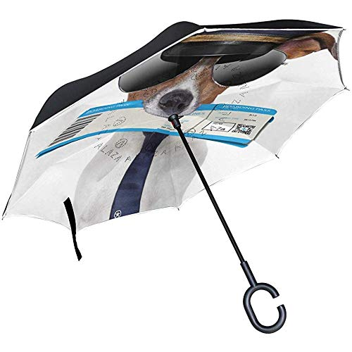 Reverse-Regenschirm mit C-förmigem Griff Mädchen UV-Schutz Double Layer Inverted Dogs Creative Reverse Umbrella Windproof