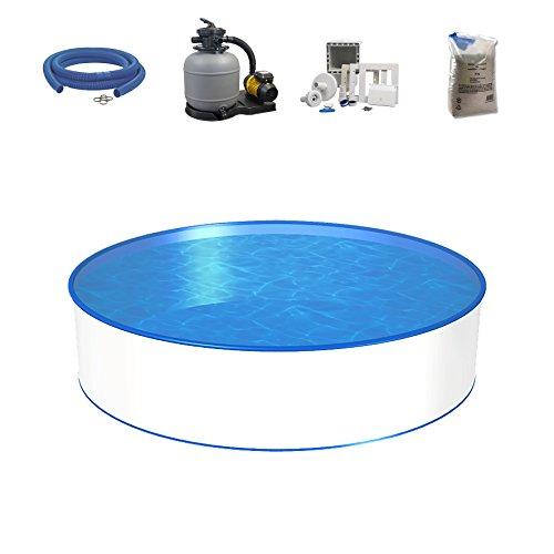 Poolset, Größe & Tiefe wählbar, 0,6mm Stahlwand, 0,6mm Poolfolie, Sandfilteranlage SF und Filtersand, Skimmer- und Schlauch-Set-300 x 120cm