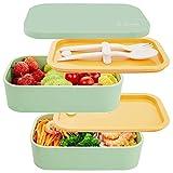 Fiambrera Bento Japonesa   Recipiente hermético para Conservar y Transportar Alimentos con Cubiertos   Libre de BPA   1.6 L(Verde