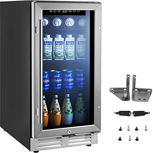 VEVOR Beverage Refrigerators, 15' Mini Beer Fridge, 126 Cans Capacity Beverage Refrigerator with Glass Door for Soda or Wine, Beverage Cooler with Adjustable Removable Shelves for Home, Office or Bar