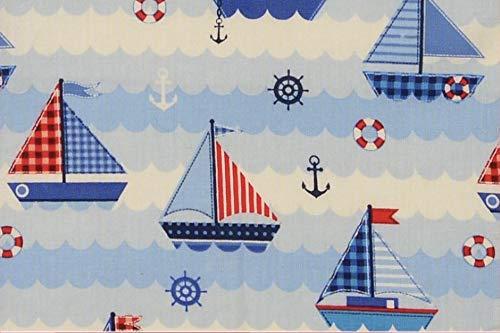 Fabrics-City MARITIM Welt BAUMWOLLDRUCK Baumwolle Stoff Patchwork Boot Anker Wasser, 5038
