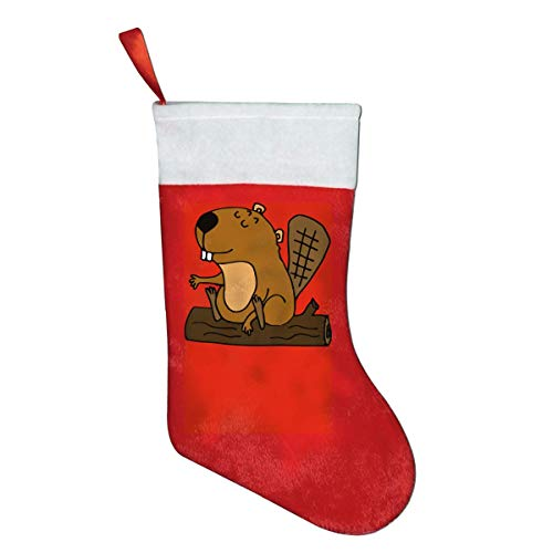 Kagoroo Weihnachtsstrümpfe, Dekor hängende Verzierung, Funny Beaver Classic Red & White Christmas Stocking for Mantel Decorations Ornaments