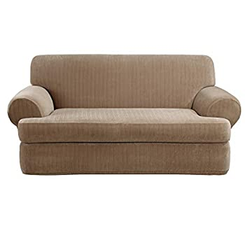 SureFit Stretch Pinstripe T-Cushion Sofa Loveseat Slipcover Form Fit Polyester/Spandex Machine Washable Two Piece Taupe Color