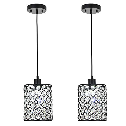 MonDaufie 2 Pack Crystal Pendant Light,Adjustable Ceiling Pendant Lighting for Kitchen Island,Dining Room,Bar,Dimmable Chandelier with Long Cord,Chrome Finish