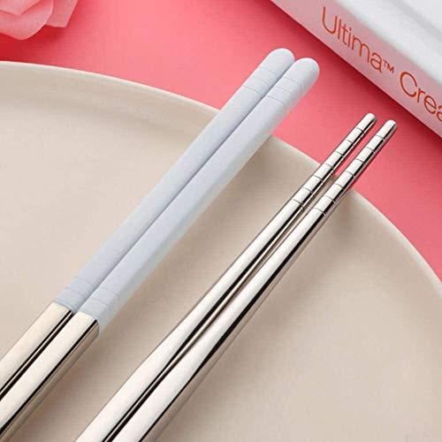 JUIO 1 Pareja Colorido Recubrimiento Hueco de Acero Inoxidable Chinos Chinos, palitos de Alimentos Reutilizables para el Kit de Sushi de arroz de vajilla (Color : White-1 Pair)