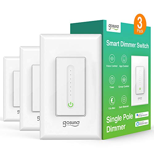 Smart Dimmer Switch, WiFi Smart Light Switch Work with Alexa and Google Home, 3 Pack, Single-Pole, Remote Control, No Hub Required, Etl and Fcc Listed