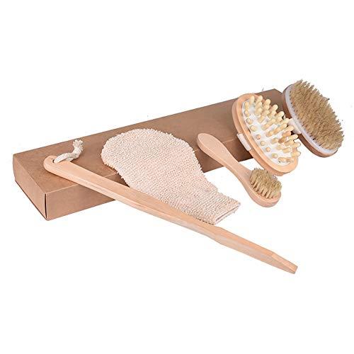 pengyu- Penyu Gant de douche en bambou pour le corps et le visage Brosse exfoliante anti-cellulite Gant de massage Spa Outils de bain pratiques – Bois