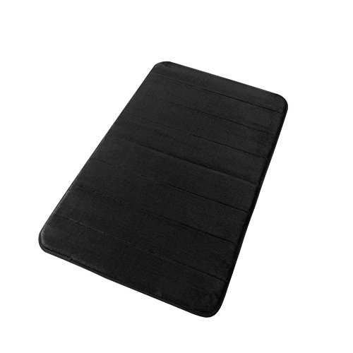 "FindNew Non-Slip Memory Foam Bath Mat Stripe Style Soft Touch Microfiber Bathroom Rugs with Anti-Skid Bottom,Absorbent&Comfortable,Quickly Drying(Black, 17"" X 24"")."