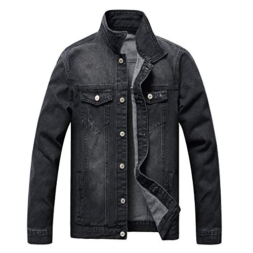 LZLER Jean Jacket for Men, Classic Ripped Slim Denim Jacket with Holes (BlackGray, X-Large)