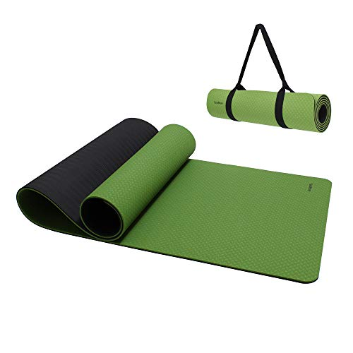 """YuniMuse Yoga Mat with Carrying Strap, Non Slip and Anti-Tear Cushioning, SGS Certified High Density Eco Friendly TPE Material 72""""x 24""""x1/4""""& Extra-Thick 1/3""""for women men thick (Green-black, 6mm)"""