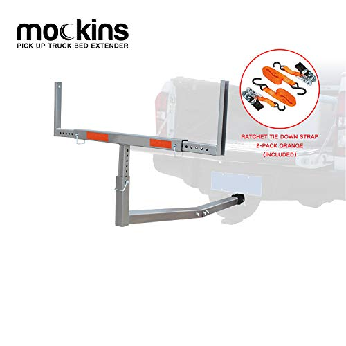 Mockins Heavy Duty Steel Pick Up Truck Bed Extender with Ratchet Straps | The Hitch Mount Truck Bed Extension can be Used for Lumber or a Ladder or a Canoe & Kayak - Stainless