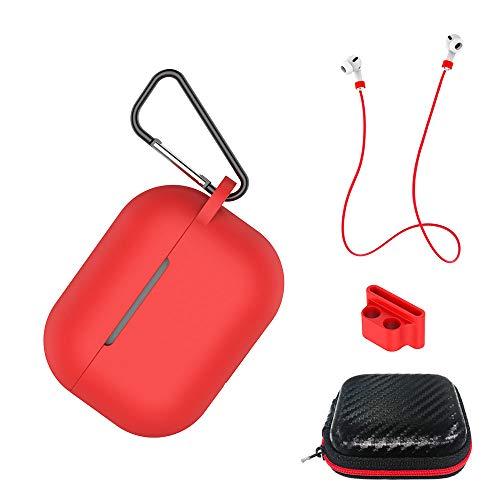 AICEK Funda Compatible para AirPods Pro Silicona Carcasa para Apple AirPods Pro Protective Case Cover Accesorios con Cuerda...