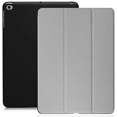 KHOMO Funda iPad 9.7 2018 y 2017 (5ta y 6ta Generación) Carcasa Ultra Delgada y Ligera con Smart Cover para Nuevo Apple iPad 9,7 2017 y 2018 - Gris y Negro