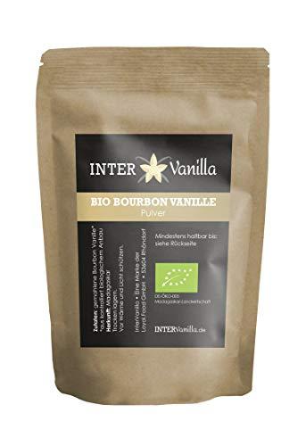 InterVanilla BIO Bourbon Vanillepulver gemahlen, 10 g. Zu Pulver gemahlene Vanille aus echten Bourbonschoten, Madagaskar. Organic Vanilla Powder