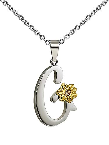 Shining Charm G Necklace for Women Large Pendant Initial Name Necklace Silver Tone with Sunflower 18' Adjustable Chain Jewellery