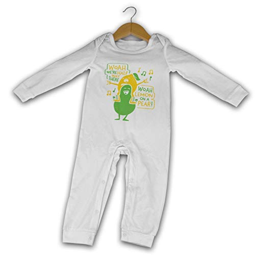 WushXiao Lemon On A Pear Long Comfort Baby Crawler Schwarz Gr. 6 Monate, weiß