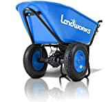 Landworks Wheelbarrow Electric Powered Utility Cart Super Duty 24V DC 180W AGM Battery Powered Driven 330LBS (150kgs) Max Capacity & 4cu.ft. of Cubage Barrel Dump All Purpose Material Debris Hauler