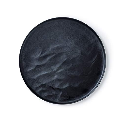 ARAS(エイラス) ウェーブプレート お皿 ワンプレート皿 ステーキ皿 ランチプレート ブラック 黒 27cm 食洗機対応 キャンプ向け 丈夫で傷もつきにくい グランピング 用 日本製