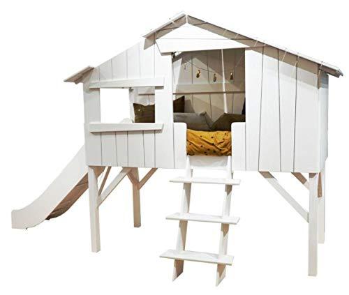 Hyggelia Kinderbett Bett aus MDF und Jowisz Holz, Baumhaus mit Rutsche, für Kinder, für Jugendliche, Perfekter Schlaf (152 x 203 cm (Queen Size), Natürliches Holz)