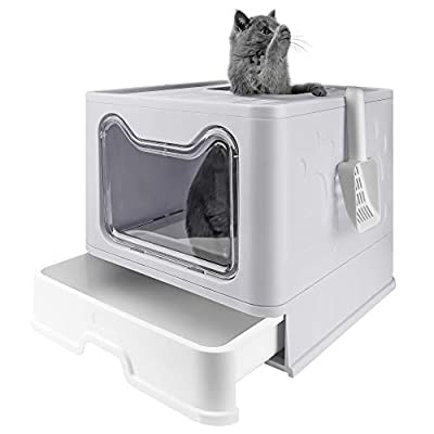 """Bolux Foldable Cat Litter Box with Lid, Extra Large Litter Box with Cat Litter Scoop, Drawer Type Cat Litter Pan Easy to Scoop & Low Tracking ( Gray, 20"""" L x 16"""" W x 15"""" H )"""