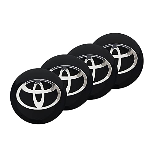 Tapas para tapacubos 4PCS Coche Coche Centro Hub Caps Emblema Pegatinas Compatible con Toyota Corolla Yaris Rav4 Avensis Auris Camry C-HR 86 Prius Tapas centrales para llantas ( Color Name : Black )