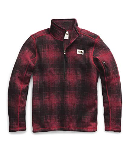 The North Face Men's Gordon Lyons Novelty 1/4 Zip, Cardinal Red Ombre Plaid Small Print, S
