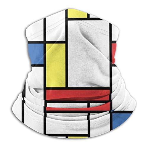 ShiHaiYunBai Tour de Cou Cagoule Microfibre Chapeaux Tube Masque Visage, Mondrian Blocks Fleece Neck Warmer - Reversible Neck Gaiter Tube, Versatility Ear Warmer Headband & For Men And Women