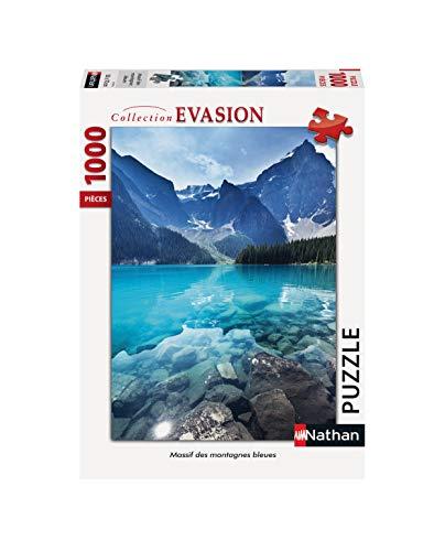 Nathan 4005556874576 - Puzzle de 1000 Piezas de Las montañas Azules para Adulto, Color Azul