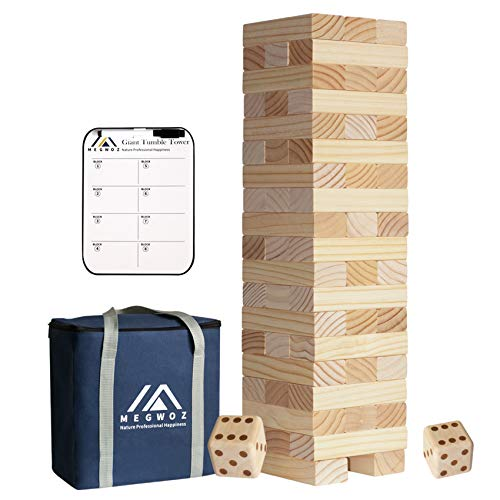 Megwoz Giant Tumble Tower, Stacking Backyard Game Stacking from 2Ft to Over 4.2Ft with 2 Dices|Scoreboard| Carrying Bag, Premium Pine Wooden Block Game Set for Kids Adult Family- 56 Pieces