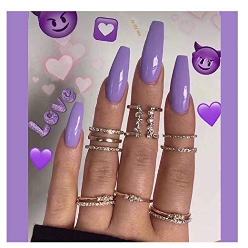 Drecode 24Pcs Punk Fake Nails Coffin Nails Fashion Party Full Cover False Nails for Women and Girls (Purple)