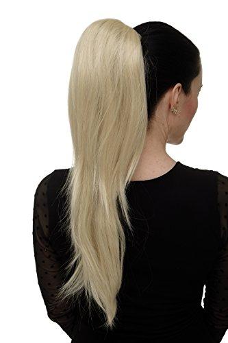 WIG ME UP - Postiche queue de cheval/natte volumineuse lisse tombante mini-pince-papillon élastique env. 60 cm blond lumineux WK06-88