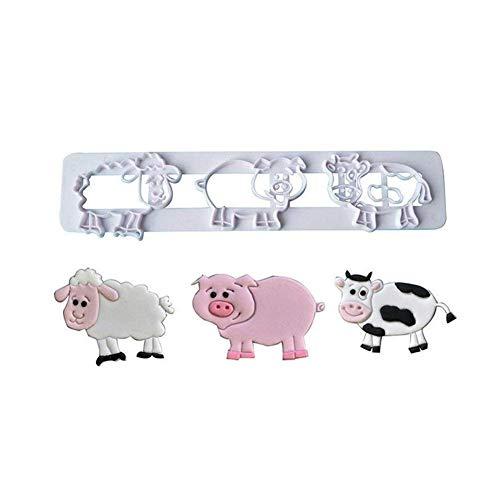 TrifyCore Lindo Animales de Granja Cerdo Vaca de Oveja de plástico Candy cortadores de Galletas Molde, Blanco, Una Talla