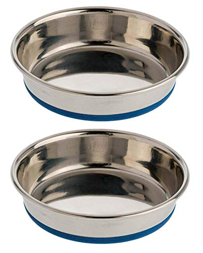 DuraPet 2 Pack of Cat Dishes, 0.75 Cup Dry Food Capacity each, Premium Rubber-Bonded Stainless Steel